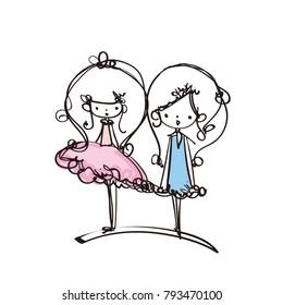 girls cartoon look , two little girls vector file, long hair, dress, tutu