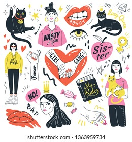 Girls and cats collection. Vector illustration of feminist symbols, girls and funny angry cats in doodle style. Isolated on white background.