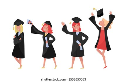 Girls Celebrating The Receiving Or Conferring Of An Academic Degree Or Diploma Vector Illustration Set Isolated On White Background