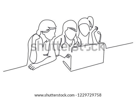 93773daa2613 Girls chatting continuous one line vector drawing. Three young women  watching film on laptop.
