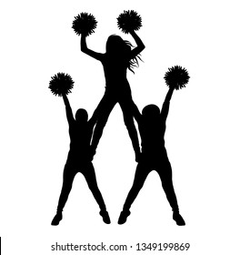 Girls of cheerleading made a pyramid silhouette isolated, vector illustration
