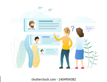 Girls choosing boys profiles vector illustration. Women analyzing social media accounts. Online dating website, matchmaking app promotion. Selecting male partner for building relationship.