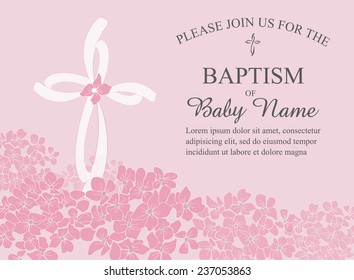 Girls Christening/Baptism/First Communion/Confirmation Invitation with Cross and Hydrangea Flowers - Vector