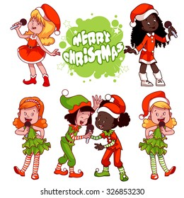 Girls in Christmas dress singing with microphone. Vector clip-art illustration on a white background. Cartoon character.