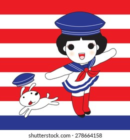 Girls Cute Navy Sailor And The Dog character illustration