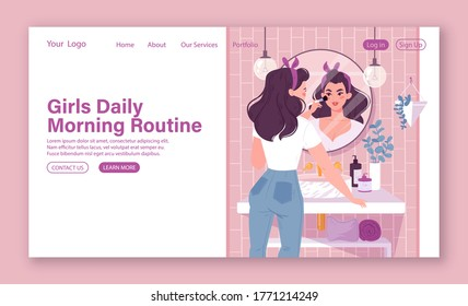 Girls  daily morning routine for web site template. Young woman standing in front of a mirror applies makeup in bathroom. Modern bathroom interior with plants, shelves with care products