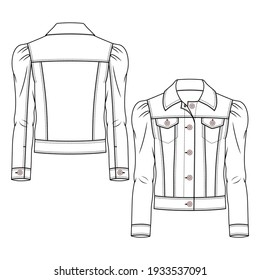 Girls Denim Jacket fashion flat sketch template. Teen Jeans Coat Technical Fashion Illustration. Woven CAD. Puffy Sleeves