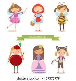 Girls in different costumes for party or holiday. Red Riding Hood, fairy, bee, cherry, princess and kitten. Cartoon vector illustration