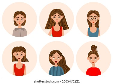 Girls with different facial expressions and emotions. Cartoon style. Vector illustration