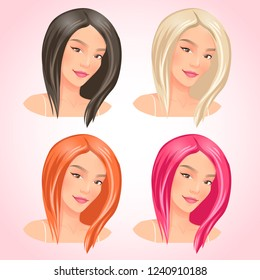 Girls with different hair.