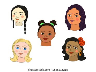 Girls of different nationalities: Mongolian, African, Indian, European, Mexican. Happy Women's Day on March 8th. Ethnic portrait of a young woman. Vector illustration. Isolated on a white background.