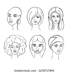 Girls of different types drawn by hand. Feminism concept. Doodle set with pretty girls. Vector illustration for card, poster, modern design.