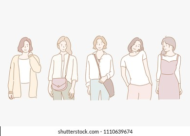 girl's diverse fashion styles. hand drawn style vector doodle design illustrations.