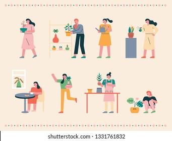 Girls doing home gardening in the spring. flat design style minimal vector illustration