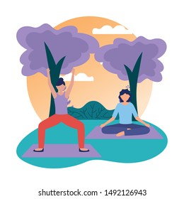 Girls doing yoga design, Positive mind fitness and exercise theme Vector illustration