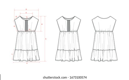 Girl's dress, dropped shoulder, block of pleats at front, high waist seam, flat sketch, front & back views, with measurements