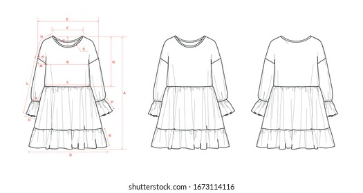 Girl's dress, dropped shoulder, long sleeve, ruffle hem, waist seam, flat sketch, front & back views, with measurements