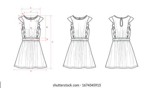 Girl's dress, sleeveless, 2 elastic waist lines, ruffles, back drop opening, flat sketch, front & back views, with measurements
