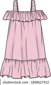 Girl's dress. Tech sketch of a summer dress for further product development