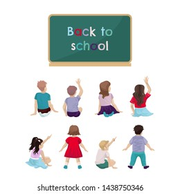 Girls in dresses, sit or stand. Back view. Pupils and boys are sitting, raising their hand up, active children in the classroom. Set people.Blackboard with a greeting and back to school. Vector draw