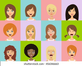 Girls Emoticon Icons. Woman Emoticons Expression Icons. Beauty Woman Emoticons Vector. Set of Woman Avatar Expressions Face Emoticons. Vector Illustration