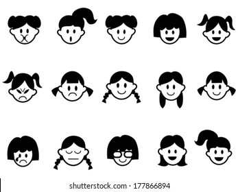 girls emotion face icons