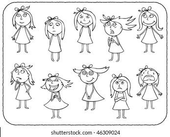 Girls emotions - contour