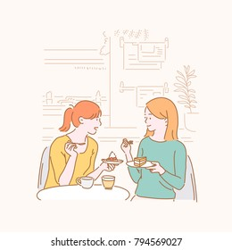 Girls enjoying tea time with friends at a dessert cafe. hand drawn style vector doodle design illustrations.