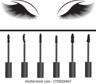 A girl's eyelashes and  types of  mascara vector illustration. Set of mascara