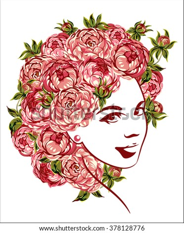 Girls Face Beautiful Spring Flowers On Stock Vector Royalty Free