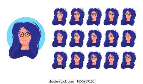 a girl's face with different emotions. Joy, anger, surprise, sadness, rage, smile, shock. Avatar for the social network. The head of a female character with 16 different expressions.