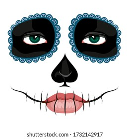 Girl's face with La Catrina Makeup. Scull Makeup for Day of The Dead