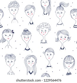 Girl's faces funny sketch seamless pattern, vector illustration