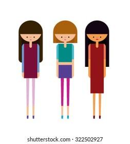 Girls Fashion Set Vector