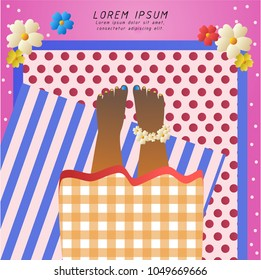 girl's feet on mat and pink beach,cute cartoon vector illustration,for website banner,presentation background or card,space for text,Summer season
