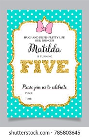 Girls Fifth Birthday Invitation Five Years Old Party Printable Vector Template With Tiffany Color
