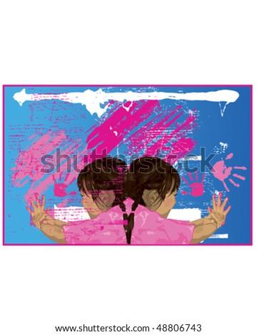 Girls Finger Painting
