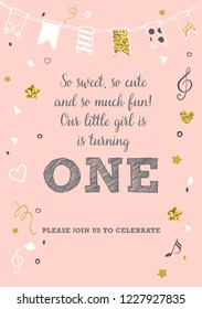 Girl's First Birthday One Year Party Printable Invitation Card