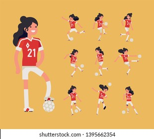 Girls football team member poses bundle. Cheerful longhaired female soccer or football player performing various shots, tricks, kicking and passing a ball, running