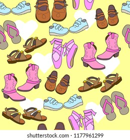 girls footwear brown shoes ballet slippers sandals flip flops yellow pink brown seamless pattern