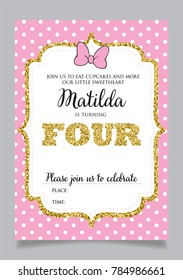 Girl's fourth birthday invitation, four years old party. Printable vector template with pink background with white polka dots and golden glitter elements.