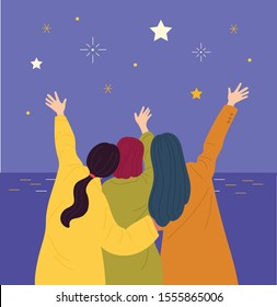 The girls go to the beach together and wave at the stars in the night sky. Friendly girls' backs. hand drawn style vector design illustrations.