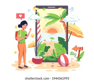 Girls go to the Internet to search for tourist attractions from various websites. Via mobile phone Until you find a favorite tourist destination, a beautiful beach with a comfortable accommodation