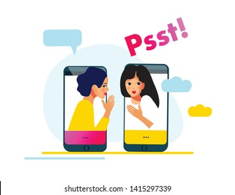 Girls gossiping vector illustration. One excited girl whispers news or private secret to her friend. Online chat. Messaging girls.