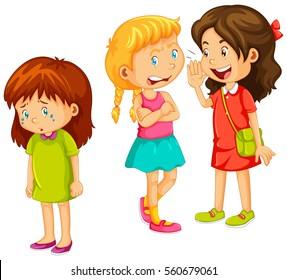 Girls gossipping other friend illustration