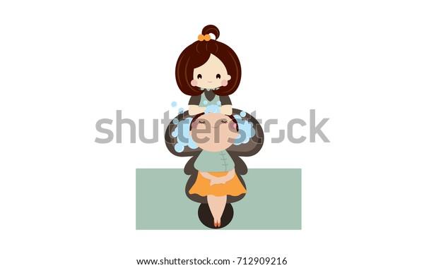 Girls Hair Salon Cartoon Stock Vector Royalty Free 712909216
