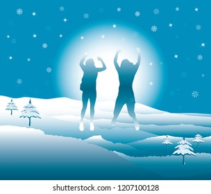 Girls with hands up jumping and having fun on the top of mountain in the snow. Friends on winter break vacation. Vector illustration. Blue Ridge Mountains, North Carolina, USA.