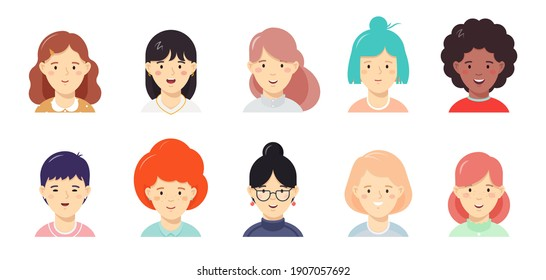 Girls happy faces flat vector illustration set. Women userpic, avatar icons for social network, web services, mobile applications. Female portraits clipart collection isolated on white background.