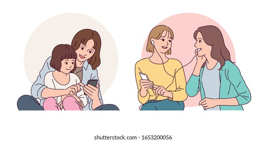 Girls having fun together with happy smiles. hand drawn style vector design illustrations.