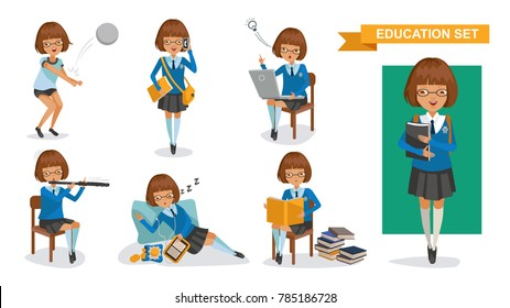 Girls high school of Education set.Playing volleyball, talking on the phone, computer thinking, thinking, playing flute, listening, sleeping, reading. Student activity concept. character design.Vector